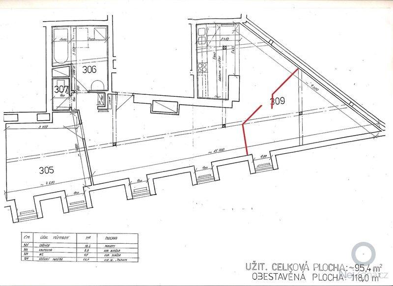 Postaveni sadrokartonovych zdi v atelierovem byte pro novy pokoj: planek