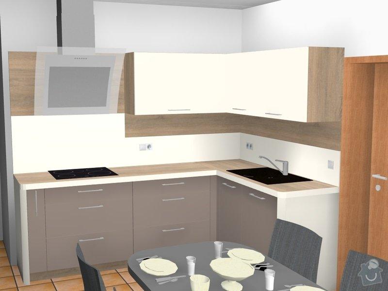 Rohová kuchyně s technickým blokem vysokých skříní: obklad_za_odsavacem_sklo_a_nahore_kansas_oak