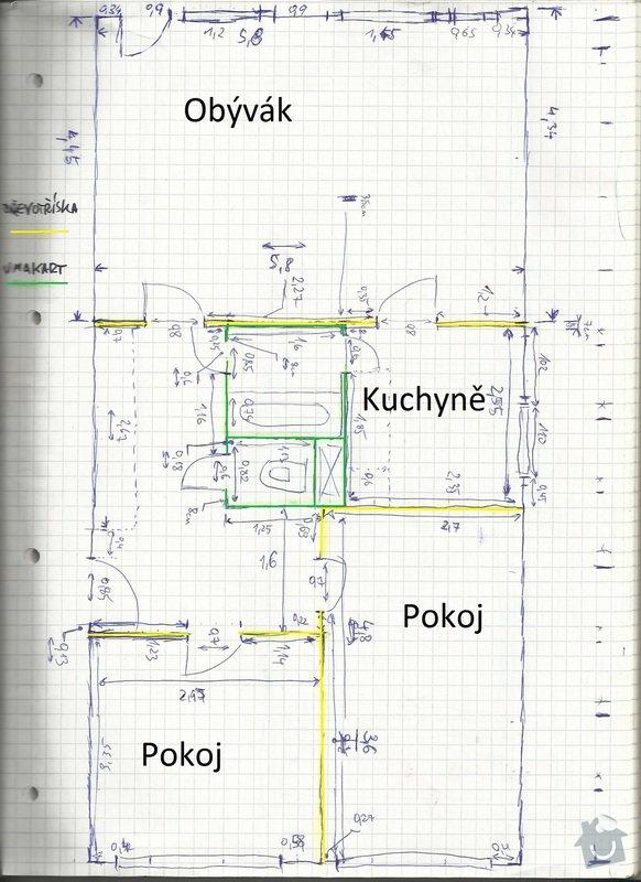 Studie přestavby bytu 3+1 na 4kk: Planek2