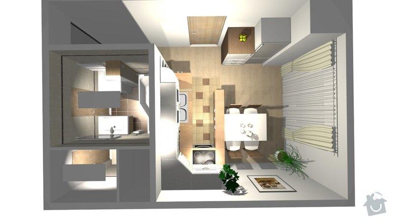 Rekonstrukce byt.jádra včetně kuch. linky: dispozice