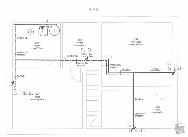 Kompletní montáž topení - rozvody: 1PP