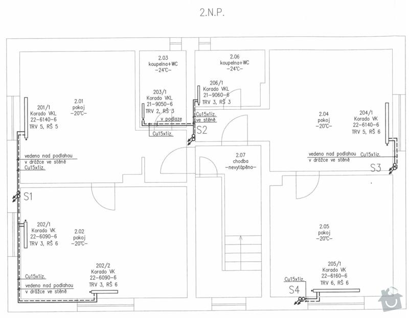 Kompletní montáž topení - rozvody: 2NP