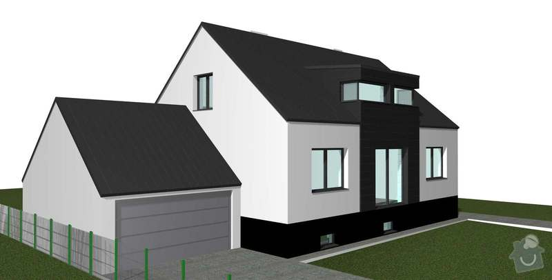 Rekonstrukce střechy 120 m2: RD_Bechovice_garaz_bila__sikma_strecha