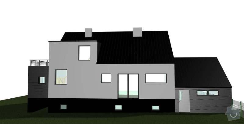 Rekonstrukce střechy 120 m2: RD_Bechovice_garaz_desky__sikma_strecha_severni_nove_okno