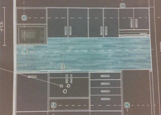 Nová elektroinstalace pro kuchyňskou linku v paneláku na bytové jádro.