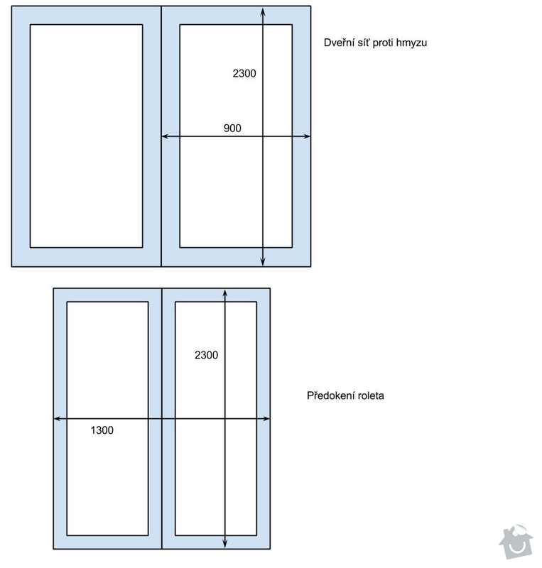 Venkovní předokení roleta a dveřní síť proti hmyzu.: dvere