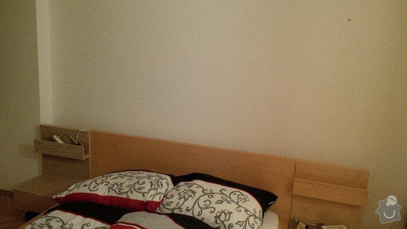 Truhlarske prace (brouseni, lakovani jednoho nocniho stolku v loznici) tapetovani steny v loznici cca 2,5 m x 7m, profi instalace lampicek nad postel tzn. aby nebyly videt kabely vse skryto pod tapetou :): loznice_Libicka_10_Praha_3_Vinohrady