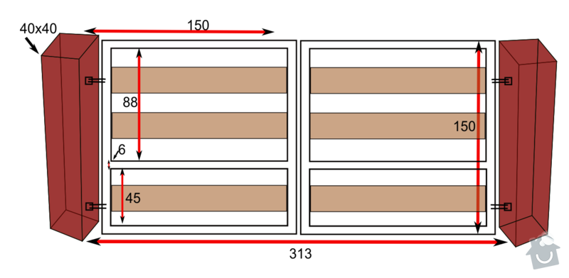 Pohon na 2-kridlove vrata: brana