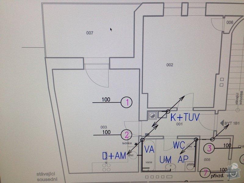 Dodání a instalace systému podlahového teplovodního vytápění, vodovodního a odpadového potrubí v bytě 58m2: odpady