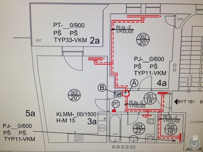 Dodání a instalace systému podlahového teplovodního vytápění, vodovodního a odpadového potrubí v bytě 58m2: Topeni
