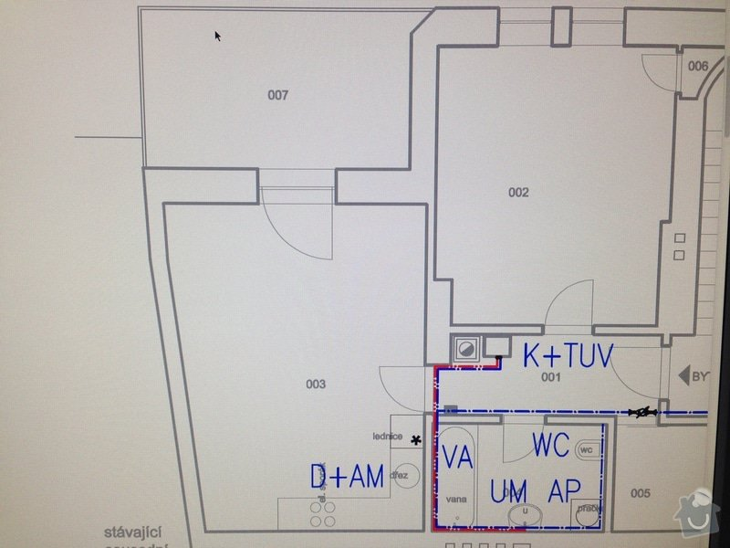 Dodání a instalace systému podlahového teplovodního vytápění, vodovodního a odpadového potrubí v bytě 58m2: Voda