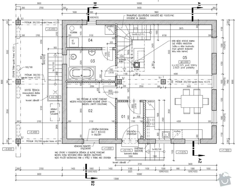 Zhotovení dřevěné podlahy/záklopu ve 2NP RD: Pudorys_1NP