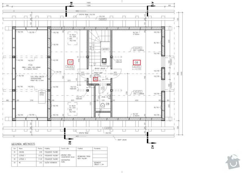 Zhotovení dřevěné podlahy/záklopu ve 2NP RD: Pudorys_2NP