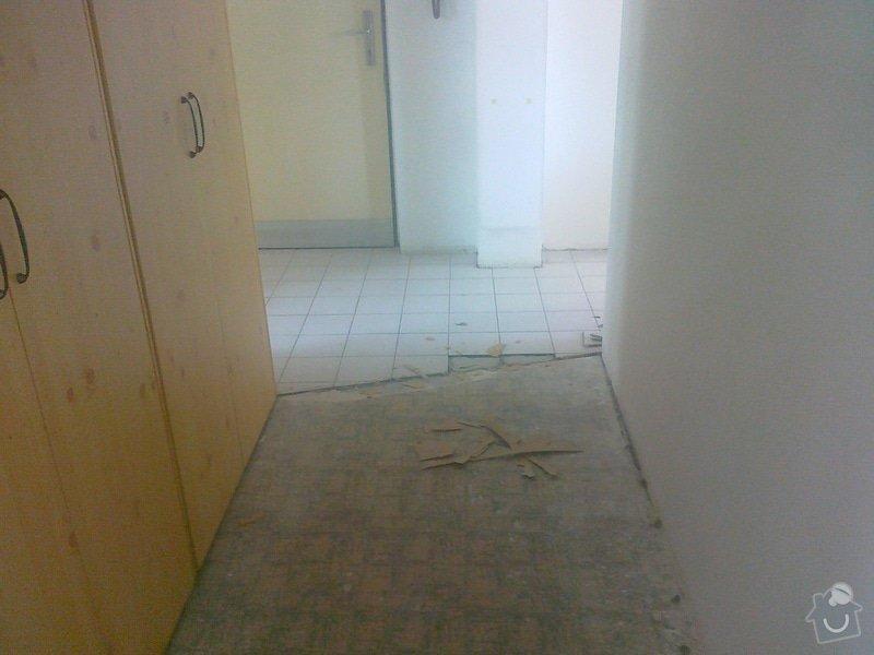 Pokládka lina (2 pokoje), pokládka dlažby chodba, malířské práce (3 pokoje a kuchyň), zednické úpravy (1 sádrokartonová příčka): 110620141448