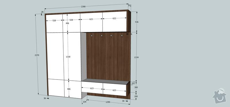 Výroba a montáž kuchyňské linky, předsíně a obývací stěny na míru: rozmery_chodba
