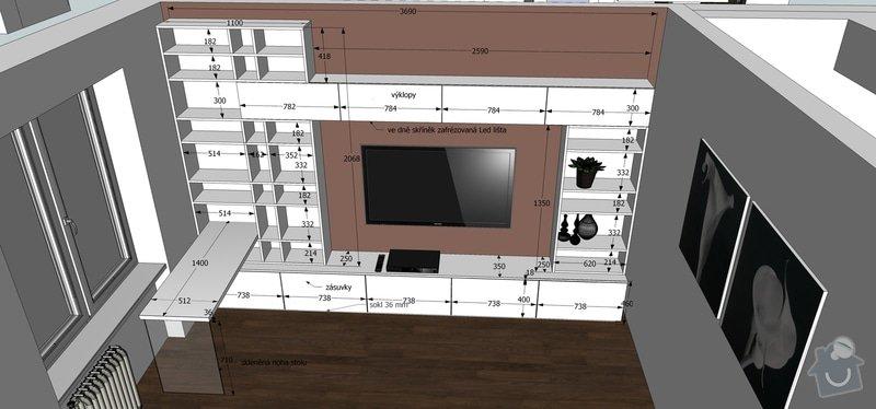 Výroba a montáž kuchyňské linky, předsíně a obývací stěny na míru: rozmery_obyvaci_pokoj
