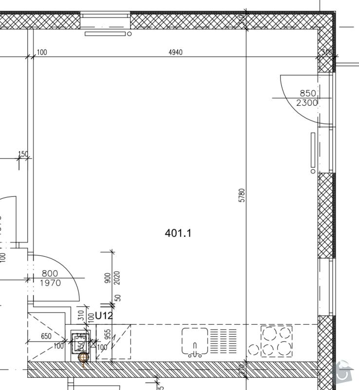 Instalace vody, odpadu ,elektriky, SDK: plan