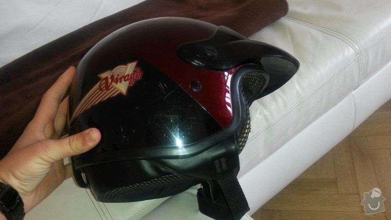 Čalounictví, oprava vnitřku 2 helem na moto - otevřených: 20140713_130804