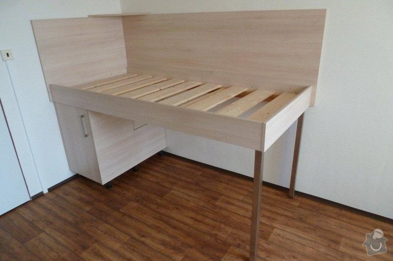 Návrh a výroba vestavné skříně do studentského pokoje: postel_90
