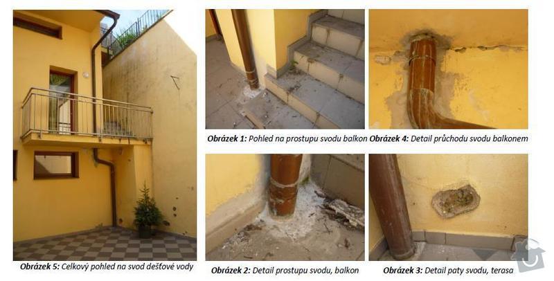 Oprava průchodu dešťosvodu balkónem: svod_destove_vody