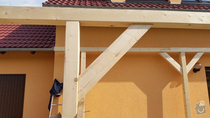 Ztotovení  pergoly nad terasou rozměr  5x3 m. včetně oplechování + střešní krytina - tašky.: 20140705_171816