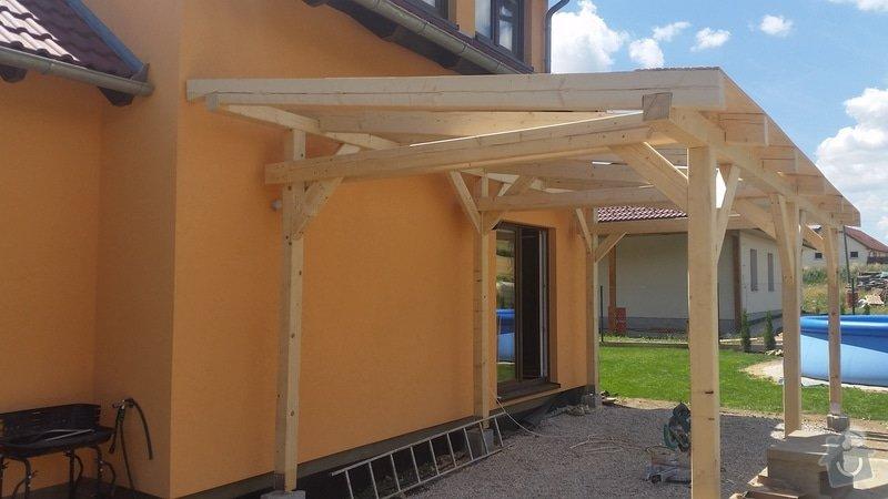 Ztotovení  pergoly nad terasou rozměr  5x3 m. včetně oplechování + střešní krytina - tašky.: 20140706_124710