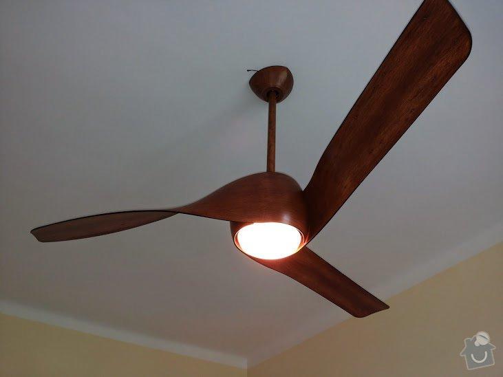 Instalace stropního ventilátoru, včetně zapojení transformátoru a svěšení původního stropního osvětlení: 20140726_130301