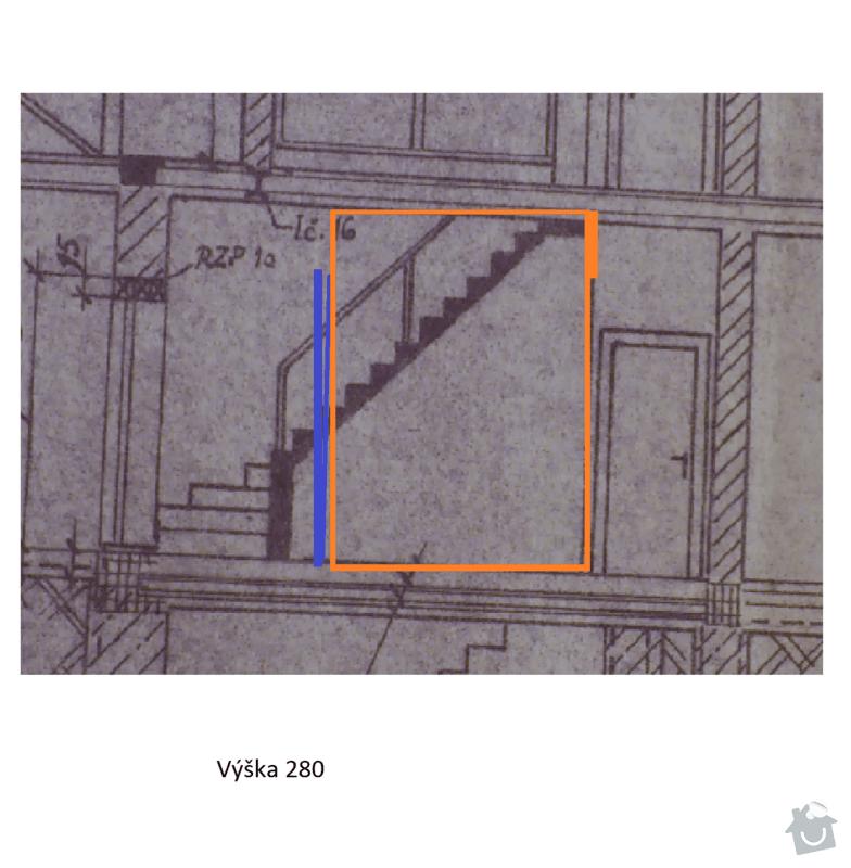 Dělící stěnu, příčku, průsvitná, neprůhledná s integrovanými dveřmi v chodbě: Pricka_02