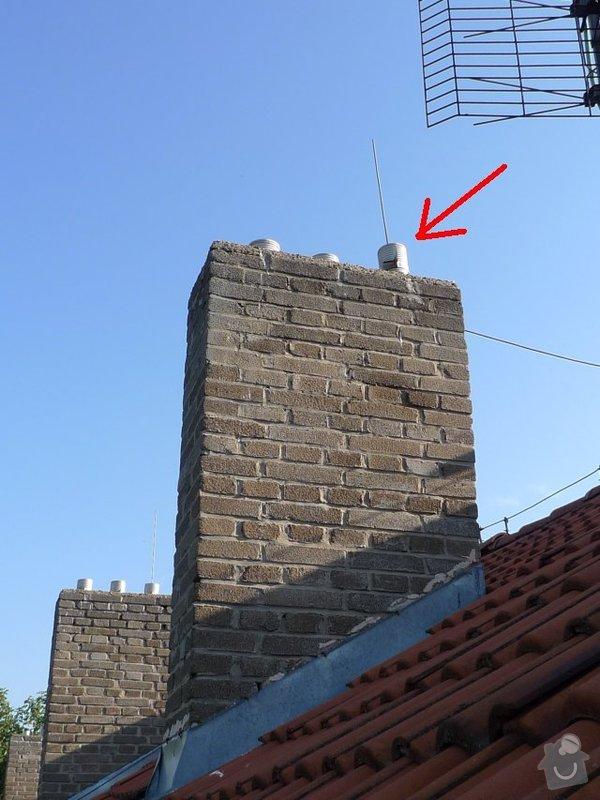 Osazení komínové stříšky: 021-HAL-kominek