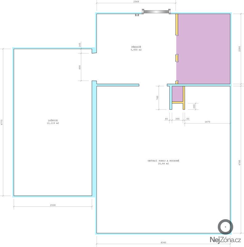 Pokládka linolea 38,5 m2: pudorys