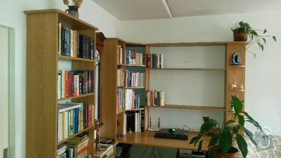 Výroba kuchyňské linky, knihovna nástavba na psací stůl a vestavěná skříň s obložkou a podstropním úložným prostorem: h_5_
