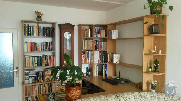 Výroba kuchyňské linky, knihovna nástavba na psací stůl a vestavěná skříň s obložkou a podstropním úložným prostorem: h_9_
