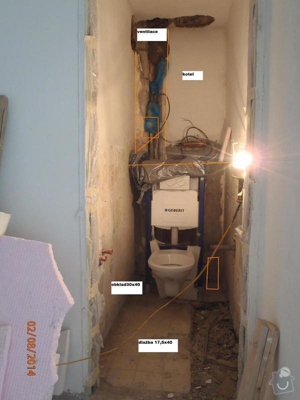 Obložení koupelny a WC (dvě místnosti): WC
