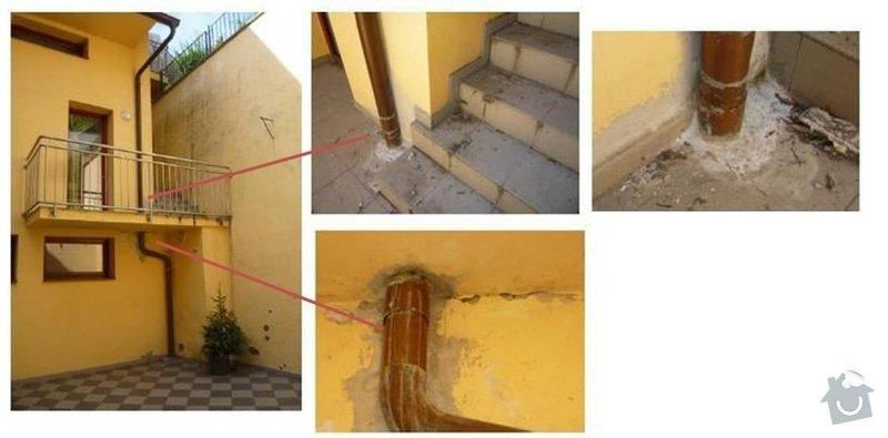 Oprava dlažby a dešťosvodu: destosvod