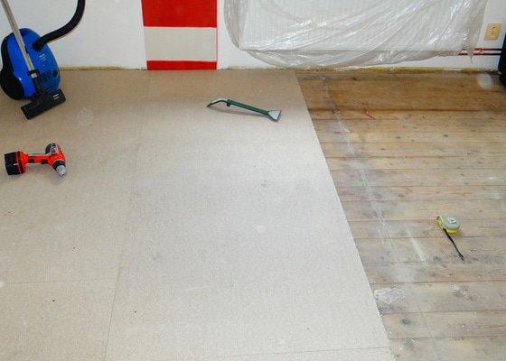 Montáž OSB desek,pokládka vinylové podlahy Terkett Supreme.