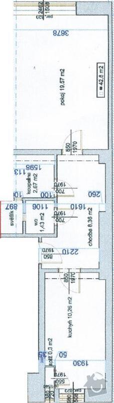 Rekonstrukce v cihlovém bytě 2+kk;  z jedné stoupačky na druhou přemístit vše, co je na ní napojeno + rekonstrukce koupelny: planek_bytu