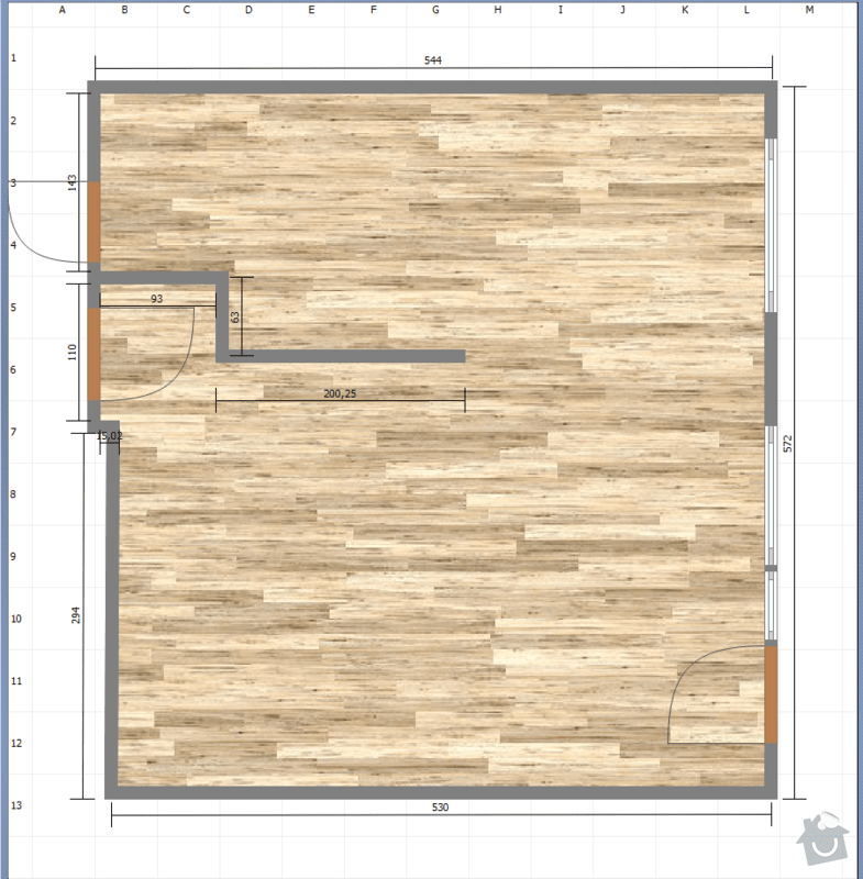 Kuchyně do panelového bytu: navrh_pudorys