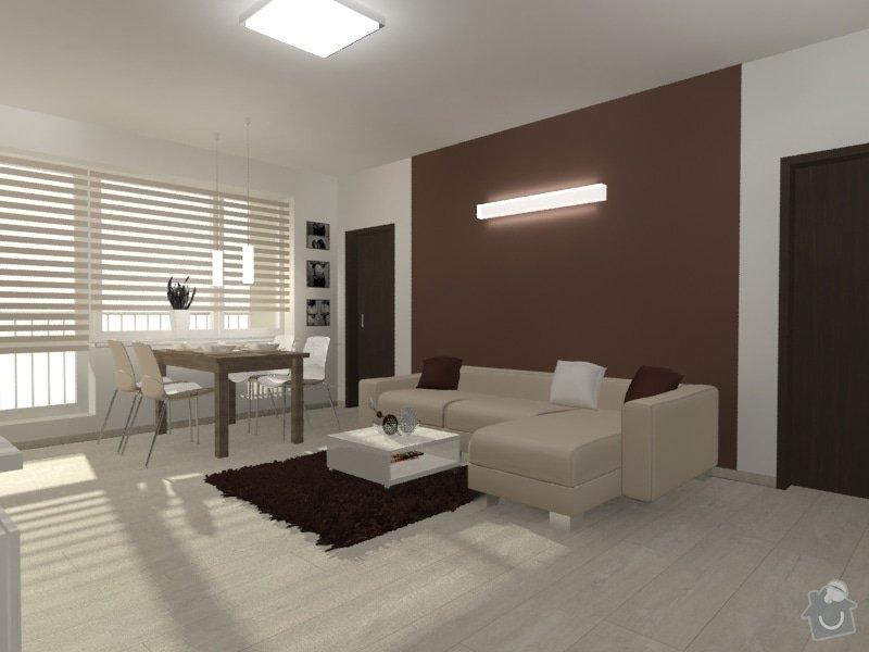 Hnědo béžová moderní koupelna, bílá kuchyně a obývací pokoj do hněda: Byt_Predmosti_obyvak_20