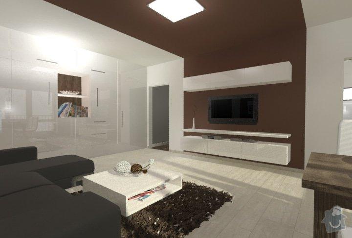 Hnědo béžová moderní koupelna, bílá kuchyně a obývací pokoj do hněda: Byt_Predmosti_obyvak_16