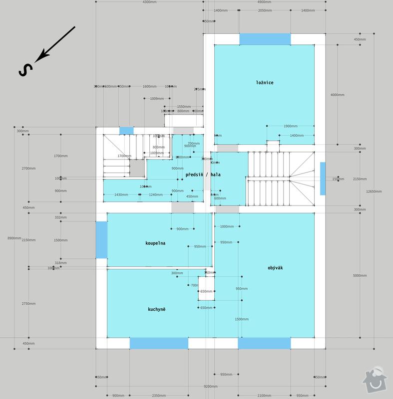 Projekt na rekonstrukci domu: Kolovraty_navrh_pudorys_prizemi