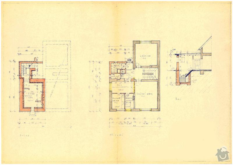 Projekt na rekonstrukci domu: Kolovraty_stav_prizemi_sklep_rez_small