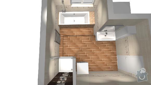 Obložení koupelny a položení dlažby v celém prvním podlaží : navrh