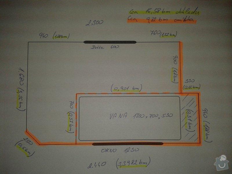 Rekonstrukce koupelny, zděné: Planek