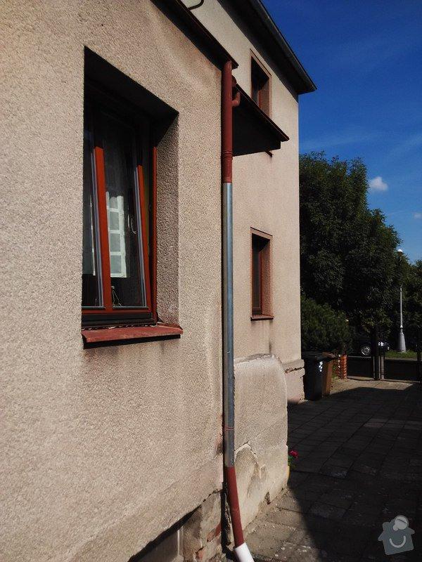 Oplechování střechy nad vchodovými dveřmi a balkónu, svody: 02