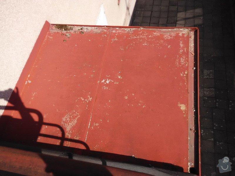 Oplechování střechy nad vchodovými dveřmi a balkónu, svody: 03