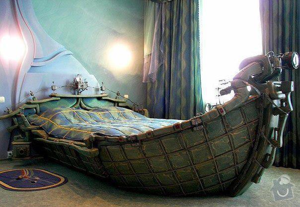 Postel ve tvaru lodi: boat-bed