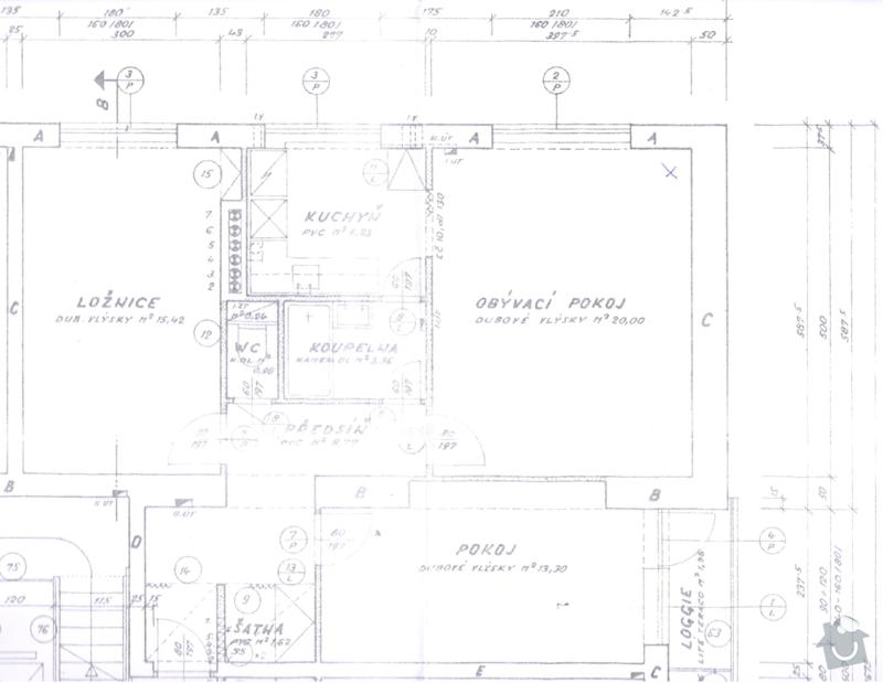 Rekonstrukce elektroinstalace v byte; stavebni prace; malirske prace; modernizace parket: pudorys