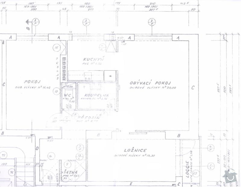 Rekonstrukce elektroinstalace v byte; stavebni prace; malirske prace; modernizace parket: pudorys_predstava