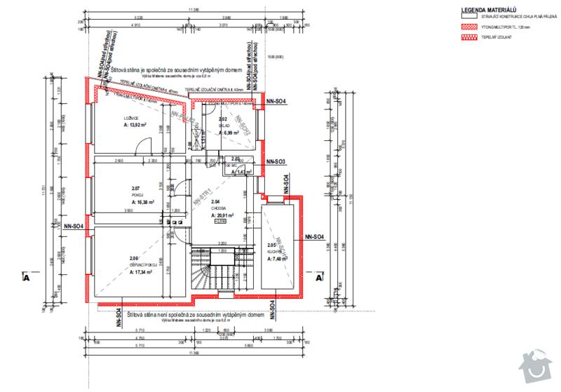 Vnitřní zateplení a zateplení půdy: plan1
