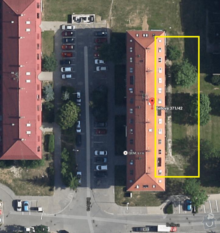 Předláždění bytového chodníku: pohled_-_satelit